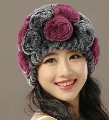 New Russia winter fur hat Rabbit Fur Women Warm fashion Lady Beanie Hat Handmade knitted hat headwear gorro Caps girls fur cap
