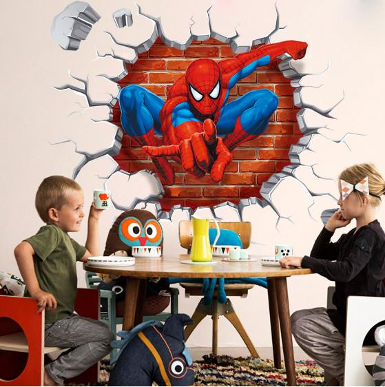 2017 new spider man children bedroom stereo wall background wall stickers can remove the wholesale trade / free shipping