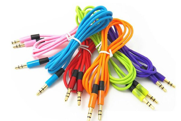 500pcs / lot 3.5mm Audiokabelschnur Auto-Zusatz-Verlängerungskabel 120cm für mp3 für das Telefon bunt auf Lager frei DHL / FEdex