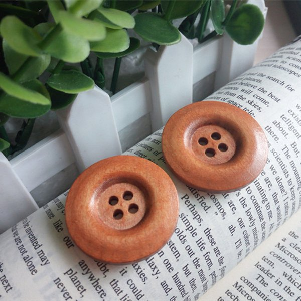 Wooden Sewing Buttons 4 Holes Dia.30mm buttons Sweater Overcoat decorative accessories Kids handmade sticker button DL_BUW013