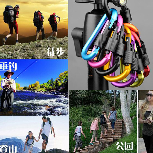 Free Shipping Outdoor Sports Equipment D ring carabiner camp keychain Aluminium locking Carabiner Hook Backpacking Buckle