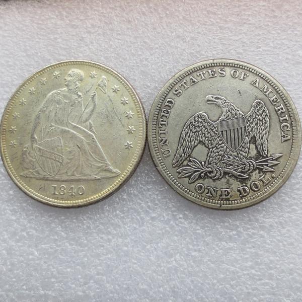 Heißer Verkauf 1840 Sitz Liberty Silber Dollar Ein Dollar Günstige Neupreis schönes Zuhause Zubehör Silber Münzen