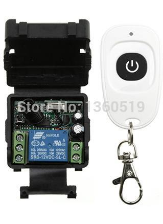 Al por mayor- DC12V Receptor Transmisor RF inalámbrico Mini Control remoto Interruptor 1CH Interruptor 10A Lámpara de luz LED SMD ventana / Puertas de garaje