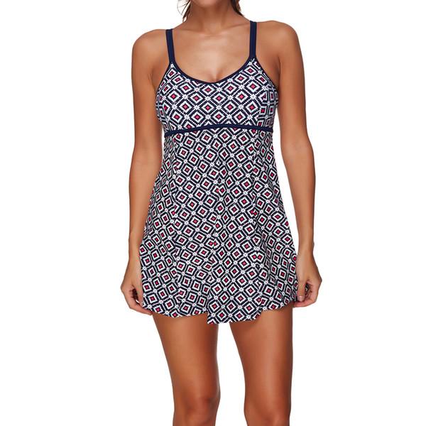 2017 Retro Print High Waisted Backless Swimwear Pants Dress For Women Bathing Suit Beach Wear Monokini Swimsuits Bodysuit S-3XL