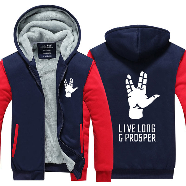 New Winter New star trek Spock Jacket live long and prosper Hoodies men thicken fleece zipper Tops fashion USA EU size Plus size