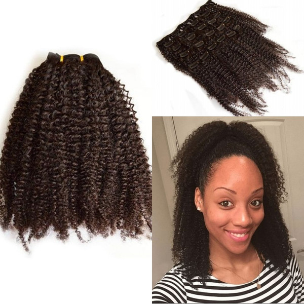 Indian Virgin Hair 8-24 inch Afro kinky Curly Clip in Human Hair Extensions 7 pcs/set Free Shipping G-EASY