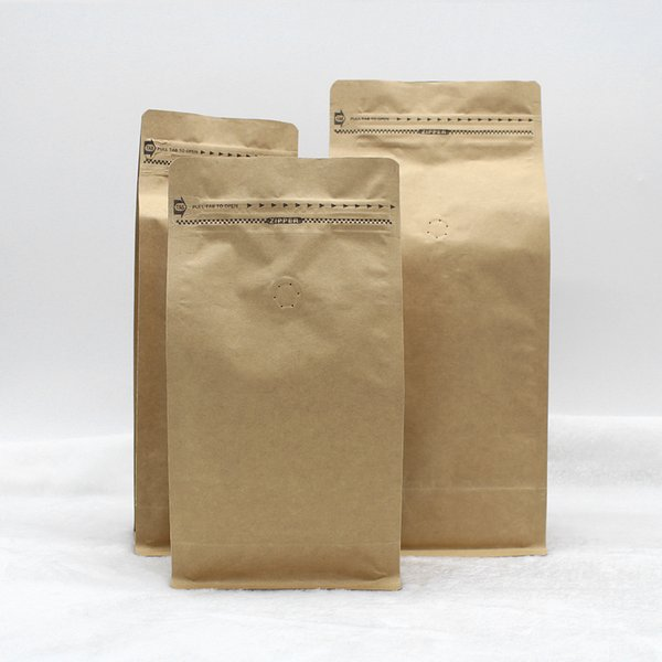 stand up coffee bean/tea packing bag kraft paper bag with air valve open design with ziplock 265*135*75cm 500pcs free shippping by DHL