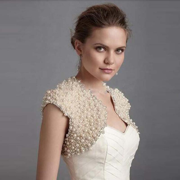 Customized Cap Sleeve Charming Design Fashion Ladies New Style Champagne Wedding Jacket 100% High Quality Bridal Bolero