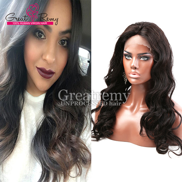 Greatremy Cheap Fashion Style Brazilian Front Lace Wigs Fast Shipping Good Quality Virgin Human Hair Glueless Lace Wigs of Body Wave