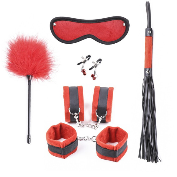 Juego para adultos 6 piezas BDSM rojo Bondage Restricciones de cuero Pezón Pinzas Máscara de ojos Set Kit de muñeca de la mordaza Muñeca puños Fetiche Juguete sexual Cuerda Látigo
