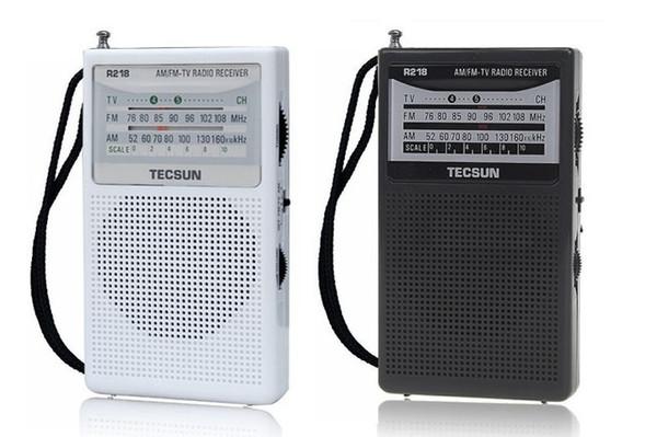 Receptor de radio al por mayor-TECSUN R-218 FM / AM / TV. Mini tamaño portátil de bolsillo Económico consuma la batería y confiable Built In Speaker 2 * R6