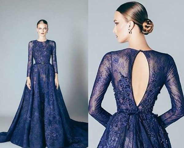 top popular Navy Blue Elie Saab Evening Dresses Lace Formal Prom Dresses Gowns With A Line Lace Applique Beads Crew Neck Long Sleeves Cheap 2019 2020