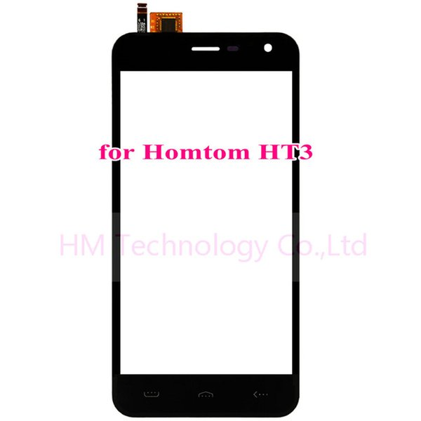 """Wholesale- Black TP for Homtom HT3 5.0"""" Touch Screen Digitizer Front Glass Panel Sensor Replacement Part No LCD Display Free Shipping+Tools"""