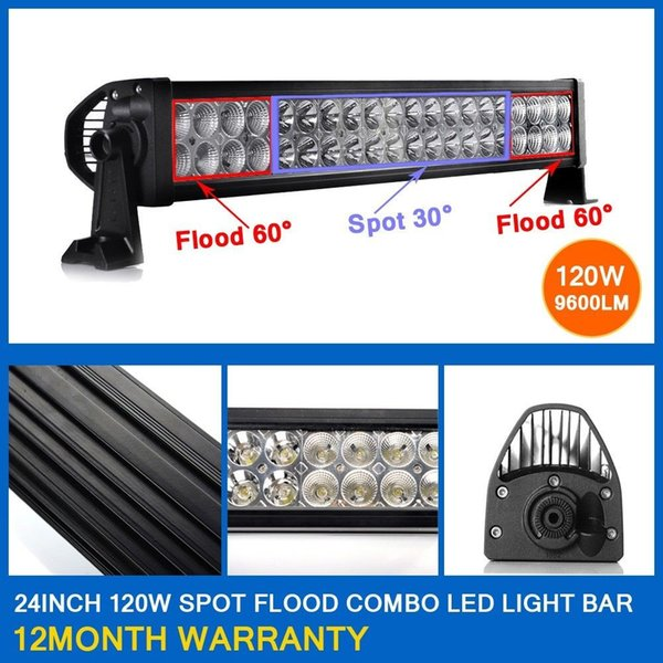 "120W 22"" Spot Flood Combo Beam LED Light Bar Working Light Roof Front Headlight For Truck Jeep Off-road 4WD Car Boat Driving light 12V 24V"