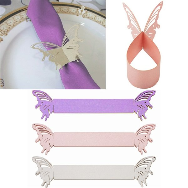 Wholesale- 50Pcs Butterfly Paper Napkin Rings Wrappers Holders Table Decoration Wedding Party Favors Paper Laser Cut Cards 3 Colors