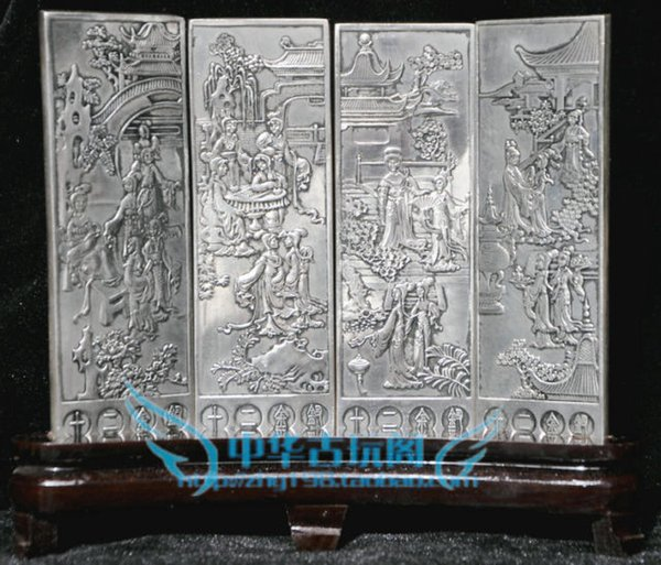 Exquisite Chinese Classical collection Tibetan silver beauties auspicious folding screen Arts Crafts Antiques Metal Statue Sculpture