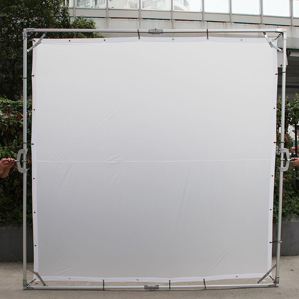 High Quality 3.6 X 3.6M Butterfly Diffusor Reflector Frame 2X Roller Stands Backgroud Kit With White Cloth For Studio HMI Light