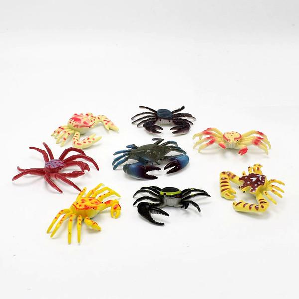 8pcs Modèle Crabe en Plastique PVC Jouet pour Enfants Cadeau Multi-colore