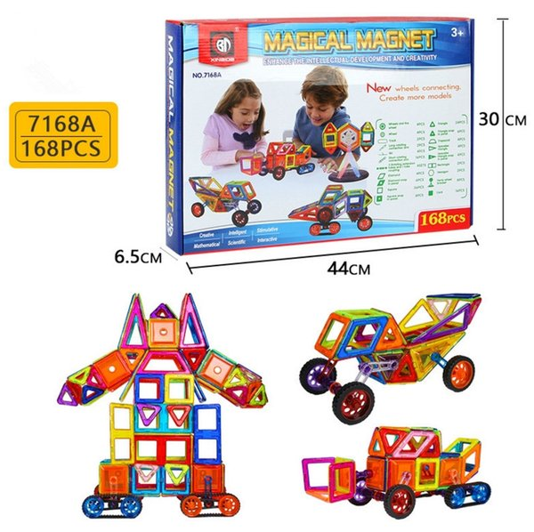7168A 168pcs Magnetic Blocks Building Puzzle Rainbow colors Magnet Block Toys for kids Vehicle set Creater Carnival Set Christmas Gift