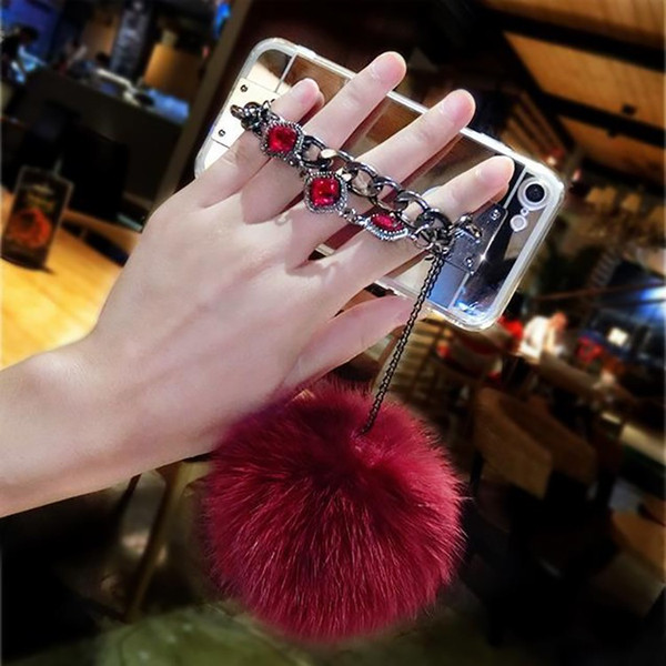 For Samsung galaxy j3 j5 j7 2016 2017 prime Emerge Luxury Fashion Diamond Bracelet chain Fox soft pompom fur ball mirror case cover