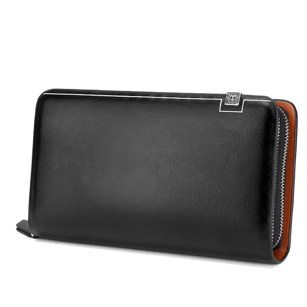 Wholesale- 2016 Long Design Male Wallet Fashion Business Clutch Wallets Zipper Purse Microfiber Leather Card Holder Wallet Man Coin Purses