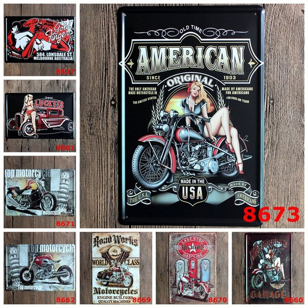 Nostalgic motorcycle Metal Poster Wall Decor Bar Home Vintage Craft Gift Art 20x30cm Iron painting Tin Poster(Mixed designs)