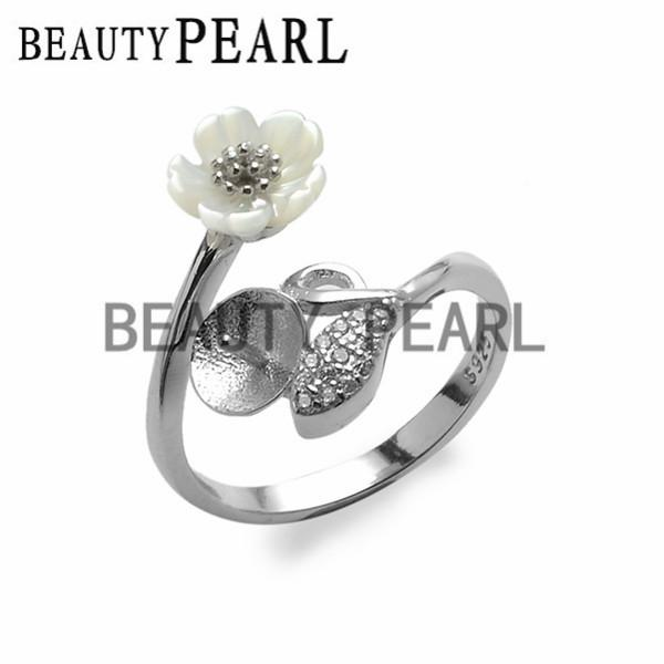 Ring Blanks White Shell Flower Leaf Zircon 925 Sterling Silver DIY Pearl Ring Mount 5 Pieces