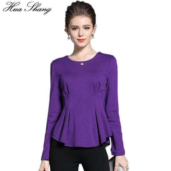 2017 Autumn Fashion Women Long Sleeve Blouse O Neck Slim Peplum Pleated Tunic Women Tops Plus Size Women Clothing Office Shirt
