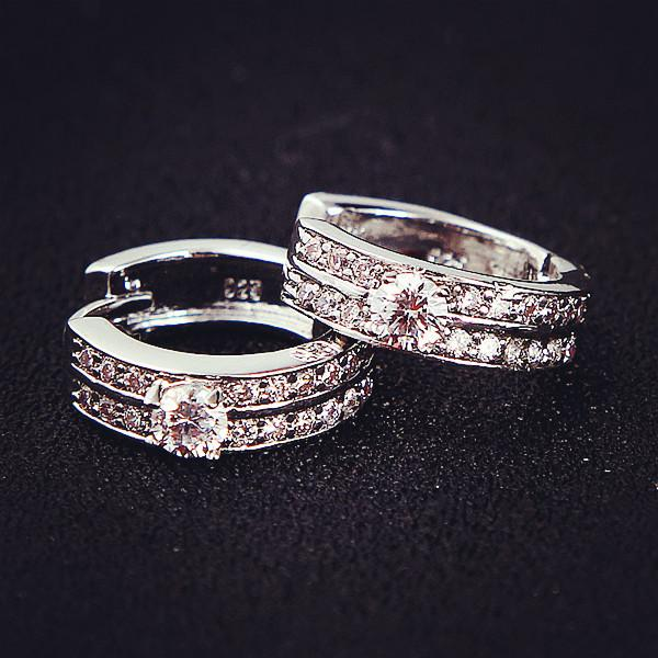15mm 18K white gold filled high quality attractive CZ crystal small hoop huggie earrings for girl/ women