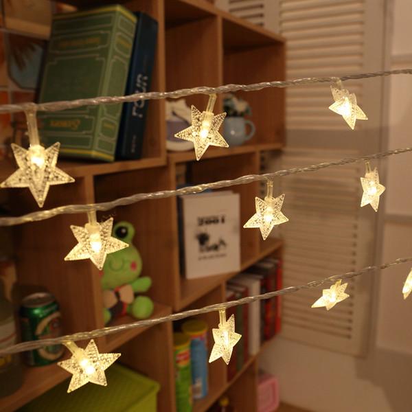 Venta al por mayor- Luces de Navidad DC 4.5V 2.5 / 5m Romántico Fairy Star LED PVC Cortina Cadena de iluminación para vacaciones de boda Guirnalda decoración del partido