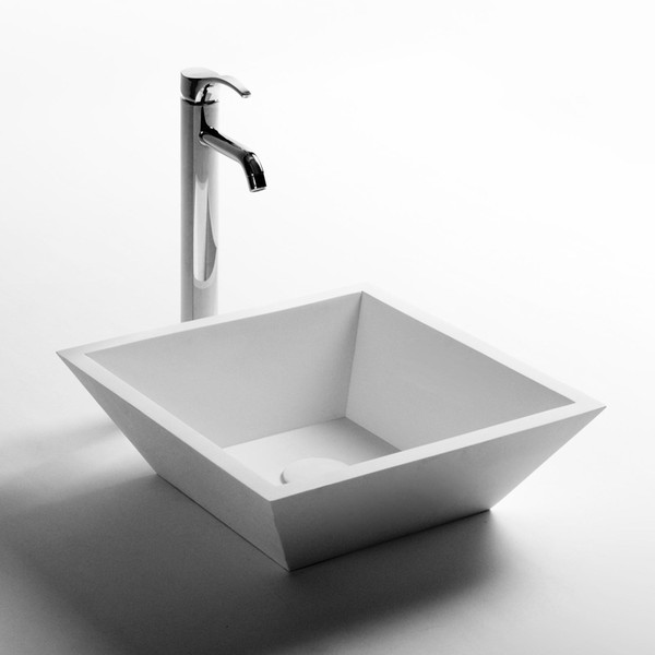 Rectangular Bathroom Solid Surface Stone Wash Basin Above Counter Matt White Or Glossy Laundry Vessel Sink RS3832