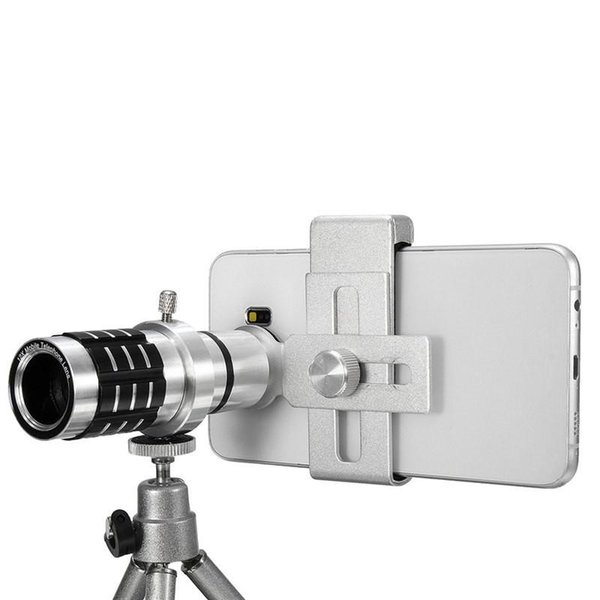 Universal 12X Zoom Mobile Phone Camera Lens Telescope Telephoto With Clip Holder Tripod Lens For iPhone For Samsung SmartphonesUniversal 12X