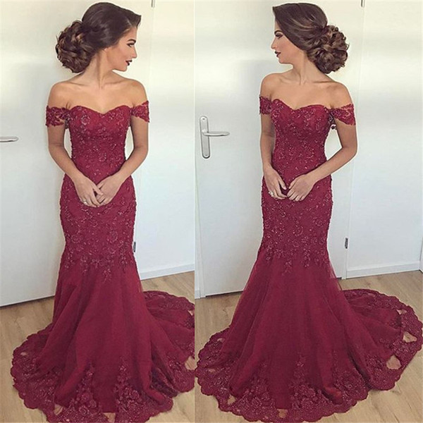 3581a681d3000 New Design 2019 Hot Burgundy Mermaid Prom Evening Dresses Arabic Sexy Off  Shoulders Appliques Beaded Long Verstidos Formal Party Wear Gowns Yellow ...