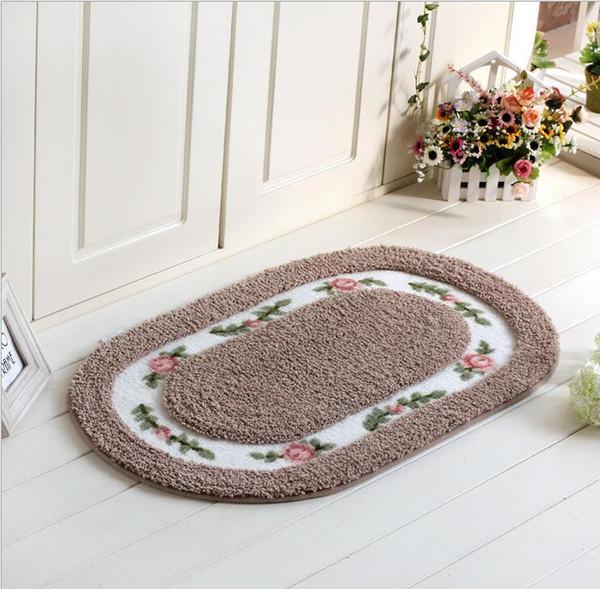 Rose Tür Teppiche Hall Schlafzimmer Ovale Badezimmer Teppiche  Gleitschutzmatte Absorbent Teppich 2017 Billig Teetisch Teppiche 50cm * 80cm