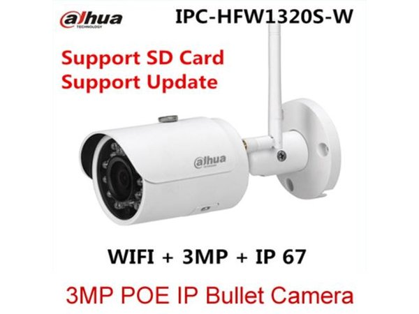 Original Dahua IPC-HFW1320S-W Network Cameras Upgradable 3MP Bullet IP Wifi Camera Free shipping Day and night functionality