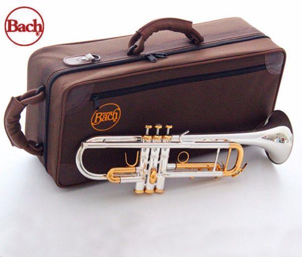 Vente en gros - New Bach LT180S-72 Bb Trompette Instruments Surface Or Argent Plaqué Laiton Bb Trompeta Professionnel Instrument de Musique