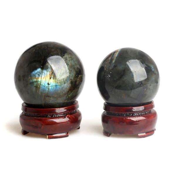 2PCS 1.65-1.89 inches Wholesale natural Crystal Labradorite Spheres healing rainbow gemstone balls + stand FREE SHIPPING