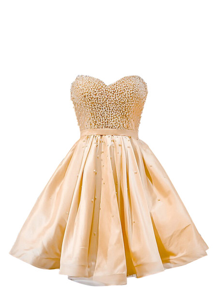 Short Prom Dresses 2019 Homecoming Party Pageant Gowns Champagne Special Occasion Dress Dubai 2k19 Beads Pearls Lace Up Cheap