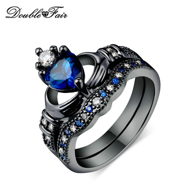 Hot Sale Crown Rings Heart Blue Crystal Wholesale Jewelry CZ Diamond Black Gold Plated For Women & Men Gift DFDD015