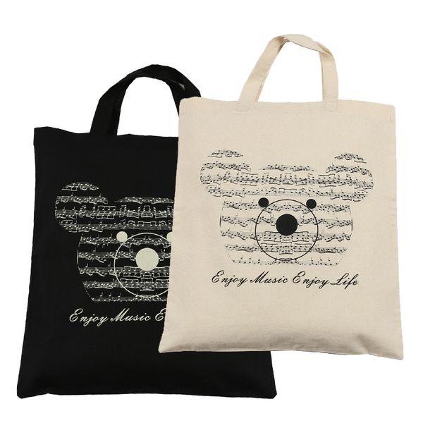 top popular Hot Selling Cotton Handbag Cotton Bag Shopping bags 2pcs Music Bear Cotton Bag- Black and Beige 2021