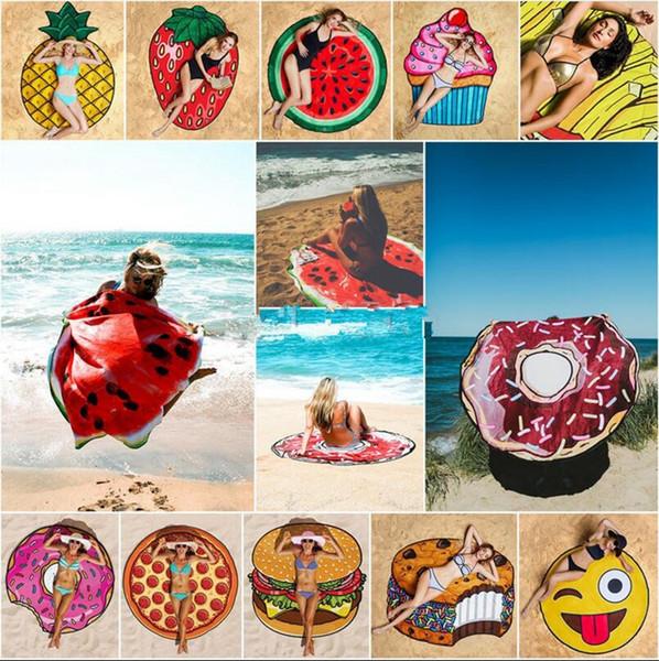 Serviette de plage Fruits Emoji d'été 18 Styles Pizza Hamburger Beignet Crâne Crème Glacée Fraise Polyester Ronde Plage Serviette de Douche OOA2266