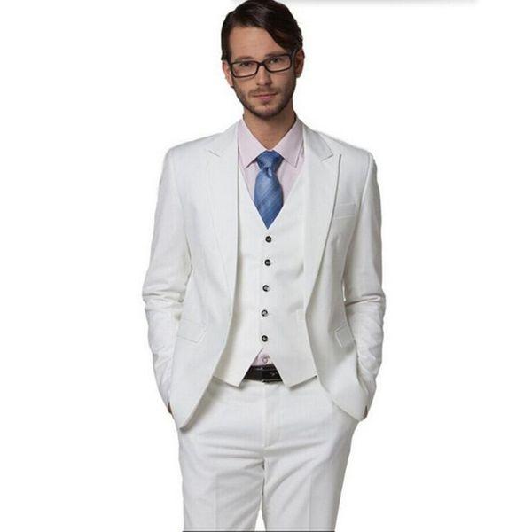 New Arrival Groom suits Tuxedos High Quality Groomsman Suit men Wedding Suit tuxedos white lapel one button prom dress(jacket+vest+pants)