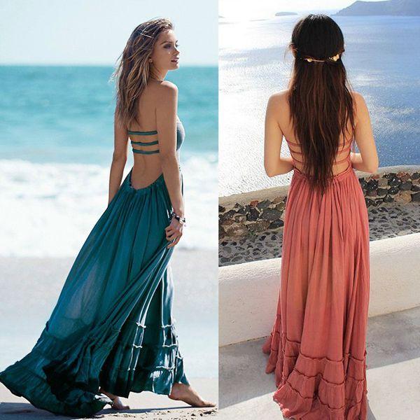 best selling Wholesale- Summer Dress Women Bohemian Sleeveless People Sexy Dresses Boho Dress Blackless Party Hippie Bandage Beach Dress Vestidos