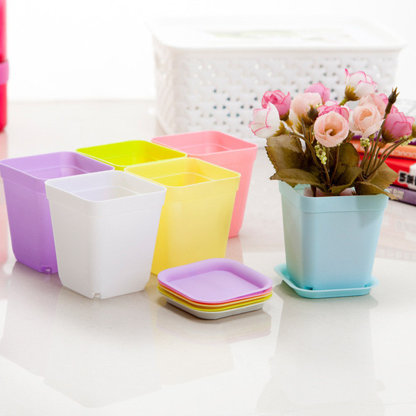 7 candy colors cute plastic flower pot home office desk Indoor Potted Home Garden Decor Planter Root Container