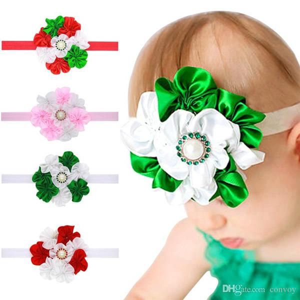 New Baby Girls Headbands Big Flower Kids Rhinestone Pearl Satin Headband Children Hair Accessories Kids Elastic Hairbands Headwear KHA324
