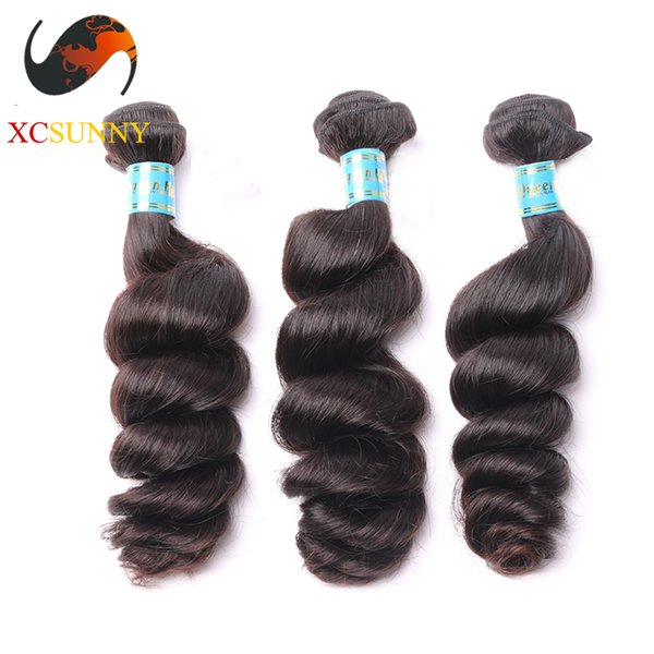 Wholesale Mix Length 3pcs-12-26 Inch Deluxe Loose Wave 100% Peruvian Virgin Hair Weave Remy Human Hair Weft 100g/pcs