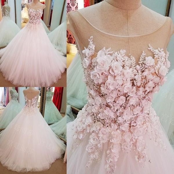 2019 Sheer Luxury Wedding Dresses Boat Neckline Cap Sleeves Fiori Lace-Up Ball Gown Plus Size Abiti da sposa