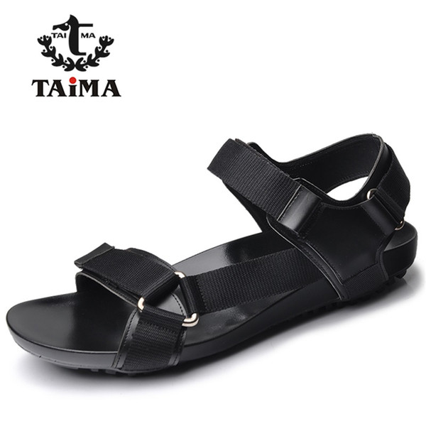 39eec588ca7df Wholesale-2016 Summer Fashion New Style Men Genuine Leather Sandals  Comfortable Breathable Casual Sandals Shoes For Men Brand TAIMA 40-45