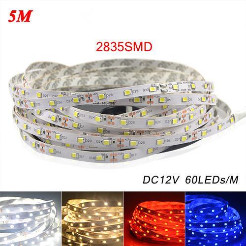5 M / paket 2835 SMD 3528 5050 SMD'den Daha Parlak LED Şerit işık DC 12 V 60 LEDs / M Kapalı Dekoratif Bant