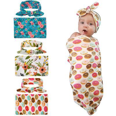 Baby Boys Girls Bedding Blankets Newborn Boy Girl Swaddle Muslin Wrap + Headband 2PCS Sets Children Kids Floral Print Sleeping Blanket B668